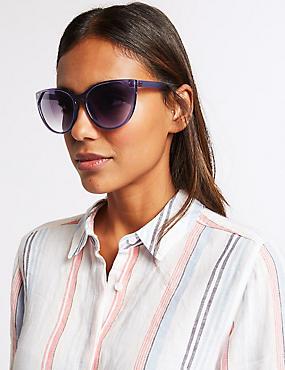 Refined Cat Eye Sunglasses, BLUE, catlanding