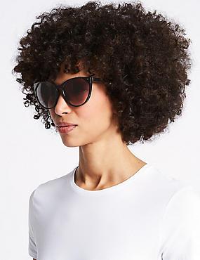 Refined Cat Eye Sunglasses, BLACK, catlanding