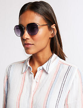 Flat Hexagon Sunglasses, BROWN MIX, catlanding