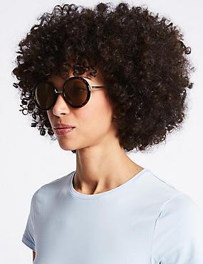 Tort True Round Sunglasses, BROWN MIX, catlanding