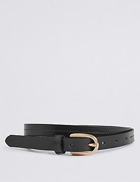 Leather Stitched Hip Belt, BLACK, catlanding