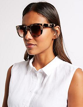 Chunky Preppy Square Sunglasses, NATURAL MIX, catlanding