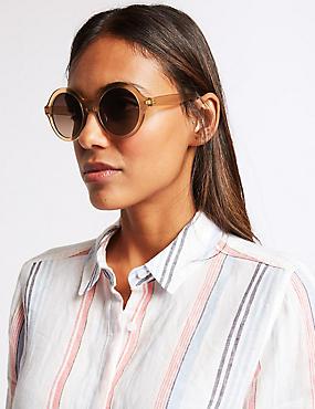 Round Sunglasses, CHAMPAGNE, catlanding