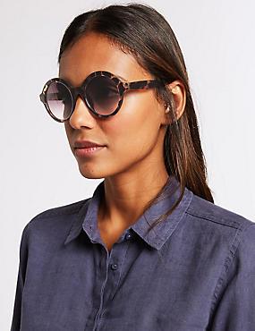 Round Sunglasses, BROWN MIX, catlanding