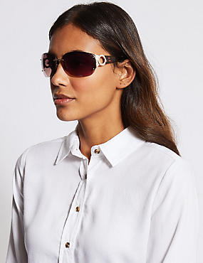 Rimless Diamante Square Sunglasses, BROWN MIX, catlanding