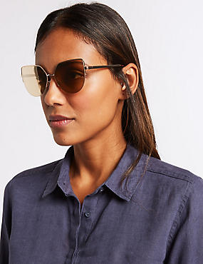 Semi Rimless Cat Eye Sunglasses, GOLD MIX, catlanding
