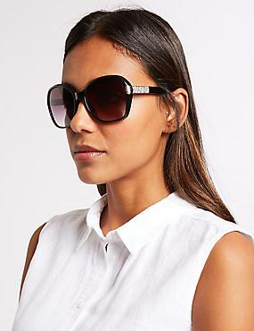 Glitter Arm Square Sunglasses, BLACK, catlanding