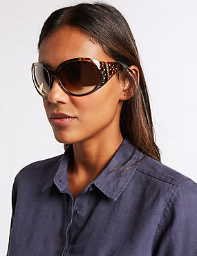 Wide Arm Bling Square Sunglasses, BROWN MIX, catlanding