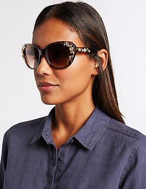 Decorated Cat Eye Sunglasses, BROWN MIX, catlanding