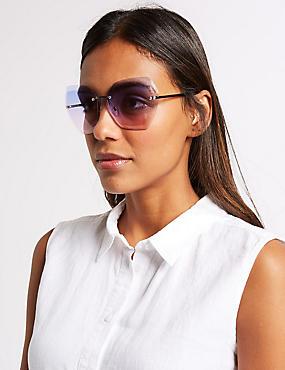Rimless Butterfly Square Sunglasses, MIDNIGHT, catlanding