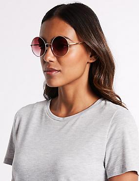 Metal Round Sunglasses , PINK MIX, catlanding