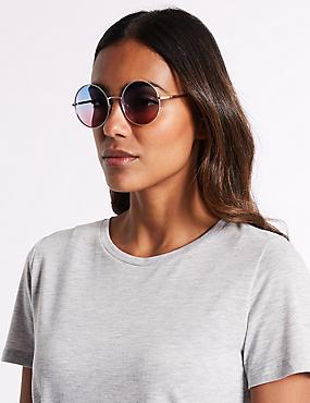 Metal Round Sunglasses , BLUE MIX, catlanding