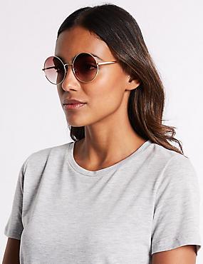 Metal Round Sunglasses , BROWN MIX, catlanding