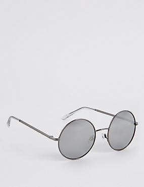 Metal Round Sunglasses , GREY MIX, catlanding