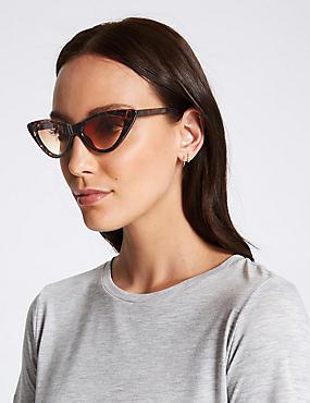 Narrow Cat Eye Sunglasses, BROWN MIX, catlanding