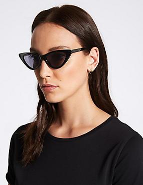 Narrow Cat Eye Sunglasses, BLACK, catlanding
