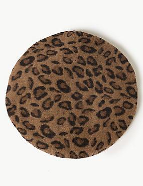 Leopard Print Beret Hat, , catlanding