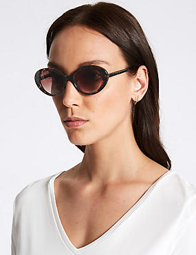Round Sunglasses, BROWN, catlanding