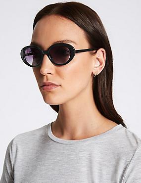 Round Sunglasses, BLACK, catlanding