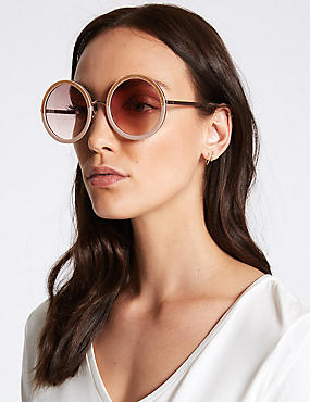 Round Glitter Sunglasses, NUDE, catlanding