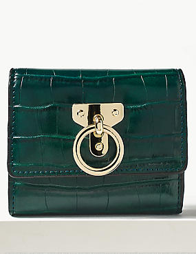 Faux Leather Ring Detail Purse , , catlanding