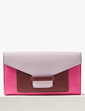 Faux Leather Colour Block Purse , , catlanding