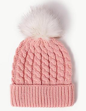 Faux Fur Bobble Beanie Hat , BLUSH, catlanding