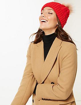 Faux Fur Bobble Beanie Hat , RED, catlanding