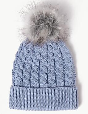 Faux Fur Bobble Beanie Hat , CORNFLOWER, catlanding