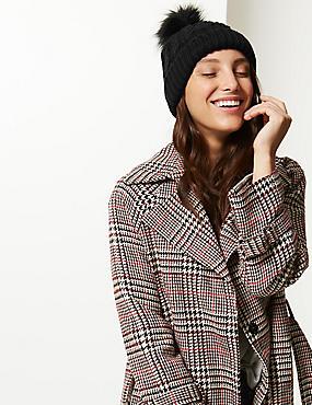 Faux Fur Bobble Beanie Hat , BLACK, catlanding