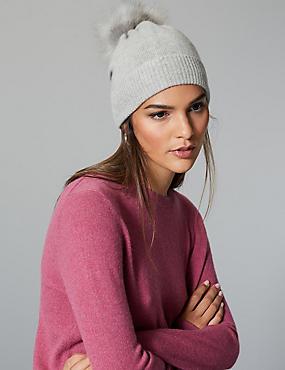 Cashmere Bobble Beanie Hat, GREY, catlanding