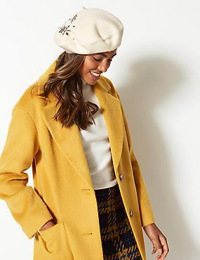 Pure Wool Diamanté Beret Hat, , catlanding