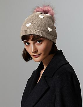 Pure Cashmere Heart Print Beanie Hat , , catlanding
