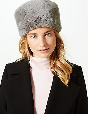 Faux Fur Beanie Hat, GREY, catlanding