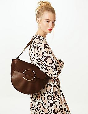 Leather Ring Detail Shoulder Bag, CHOCOLATE, catlanding