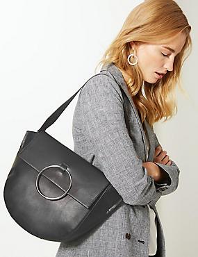 Leather Ring Detail Shoulder Bag, BLACK, catlanding