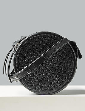 Leather Circle Cross Body Bag, , catlanding