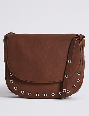 Leather Eyelet Saddle Across Body Bag