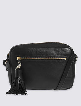 Leather Tassel Across Body Bag