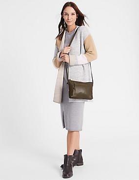 Leather Cross Body Bag, KHAKI, catlanding
