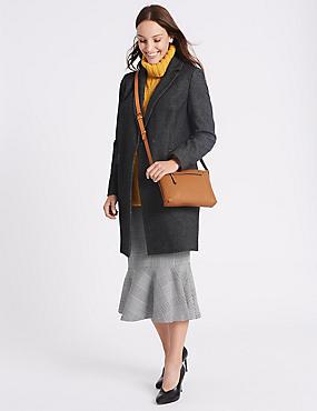 Leather Cross Body Bag, OCHRE, catlanding