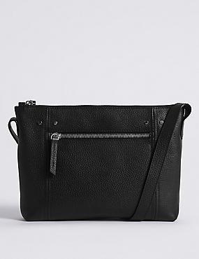 Leather Cross Body Bag, BLACK, catlanding