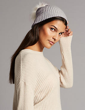 Pure Cashmere Bobble Winter Hat