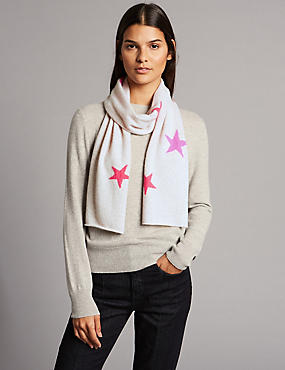 Pure Cashmere Star Print Scarf
