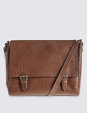 Leather Buckle Satchel Bag