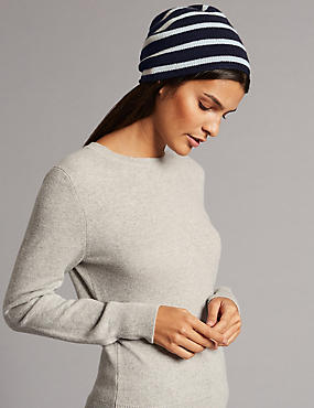 Pure Cashmere Striped Beanie
