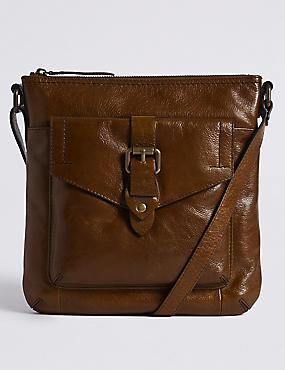 Leather Buckle Across Body Bag
