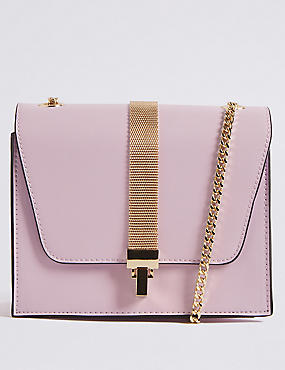 Faux Leather Chain Boxy Cross Body Bag