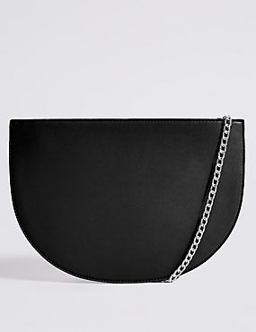 Faux Leather Half Moon Shoulder Bag