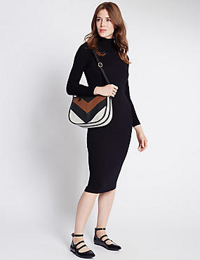 Faux Leather Zip Top Across Body Bag